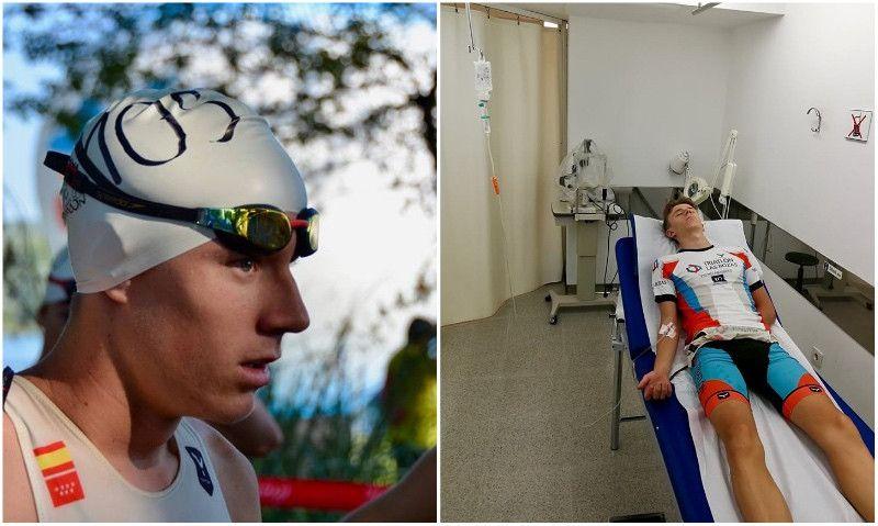 Un triatleta cadete termina el Campeonato de España corriendo lesionado y descalzo