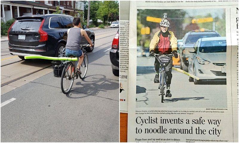 El 'arma' de los ciclistas de Toronto contra los conductores peligrosos: churros de natación