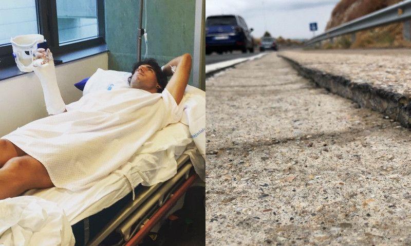 """Peru Alfaro sufre una dura caída por culpa de un """"arcén impracticable"""" para ciclistas"""