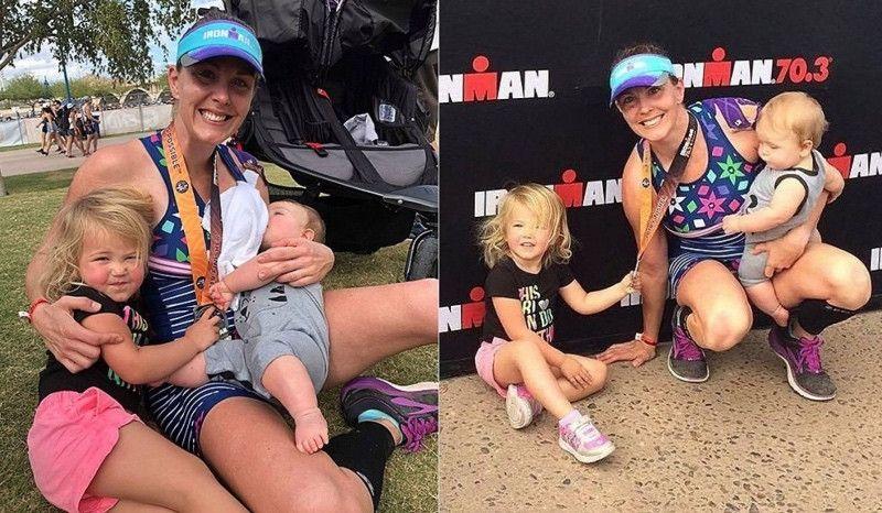 Una triatleta es capaz de extraerse leche para su bebé mientras corre un 70.3