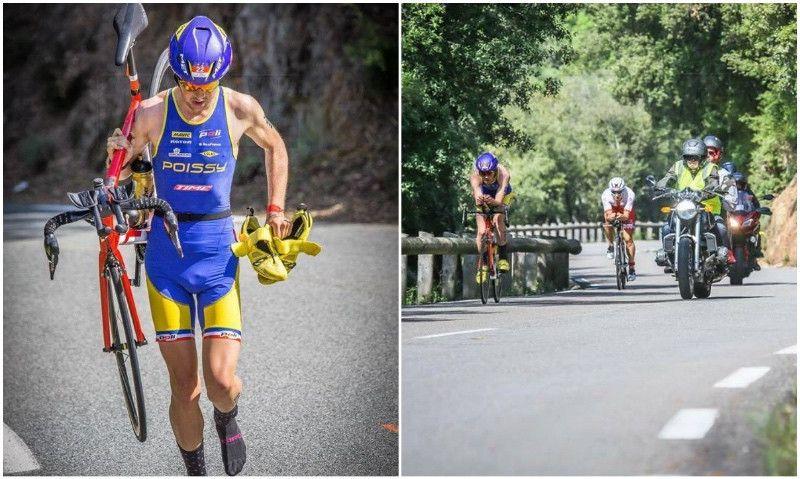 El triatleta que corrió 20 km con la bici al hombro vuelve a la carga en el Triatlón de Cannes