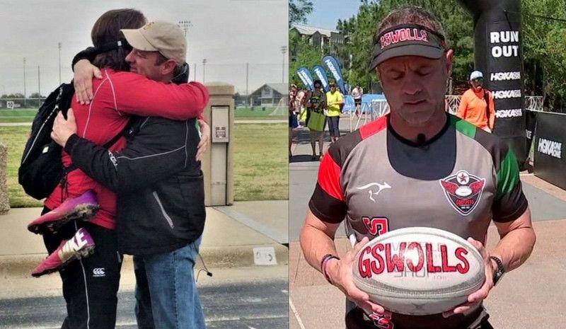 Corre el maratón del Ironman de Texas con un balón de rugby en memoria de su hijo